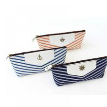 Student Navy Canvas Pen Pencil Case Coin Purse Pouch Cosmetic Makeup Bag