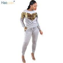 HAOYUAN Sequin Velvet Tracksuits Women Set Autumn Winter Outfits Long  Sleeve Hoodie Top+Pant Sweat eab9d5f65ab6