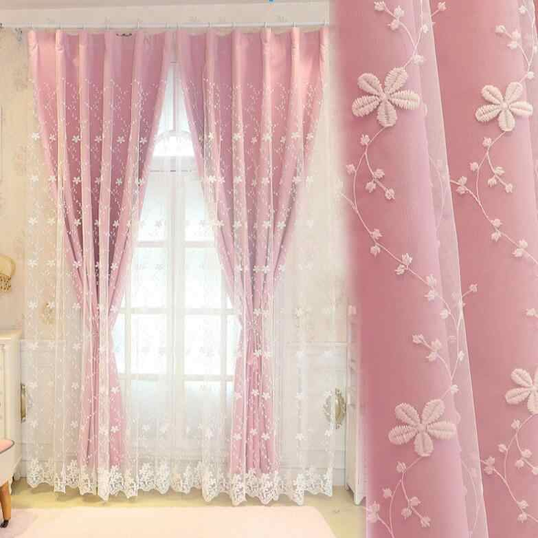 Double Layer Tulle with Blinds Lining Window Curtains with Tassel Lace For Bed room Light Shading beige top-grade decoration