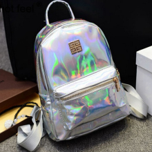 suutoop holographic backpack mochilas feminina women silver hologram laser men's back pack leather bagpack school bags zaino