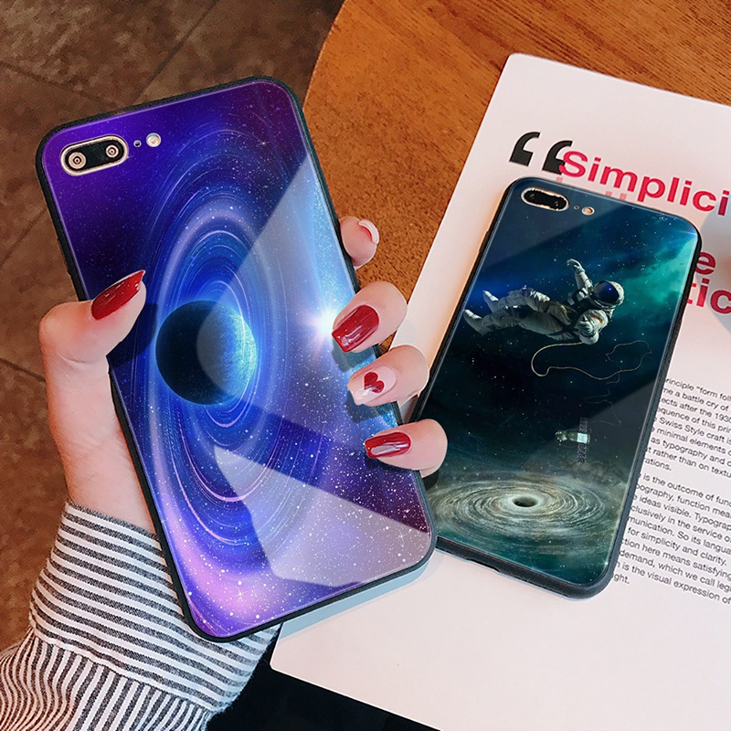 TOMKAS Luxury Space Cover Case for iPhone X Xs Max Xr Xs Glass Silicone Phone Case for iPhone 7 8 Plus Cases for iPhone 6 S 6s (7)