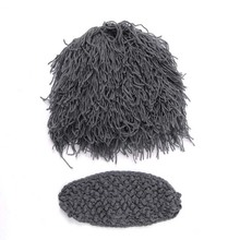 Beard Wig Hats Handmade Knit Warm Winter Caps children Kids cosplay plus size gray(China)