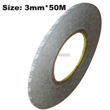 free shipping 3M Tape 3 mm x 50m Sticker Double Sided Adhesive Tape Cellphone Touch Screen LCD Repair fix