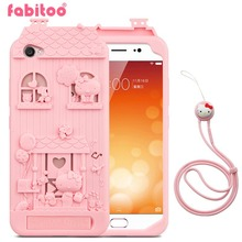 For BBK Vivo V5 3D Cute Cartoon Fabitoo Hello Kitty Phone Case Soft Silicone Back Cover With Lanyard