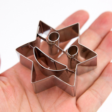 5pcs Stainless Steel Plaque Cutter Cookies Frame Cake Hexagon Smiling Face Design Fancy Star Mold Cute Cookie Cutter