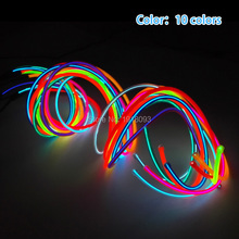Cheap! High-grade 5.0mm 10 Colors 1-25 Meter Style Energy saving EL wire LED Strip Neon light For House,Garden decoration