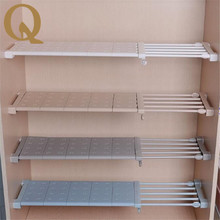 Big sale! Wardrobe storage shelf cabinet layered partition board nail free kitchen bathroom shelf partition telescopic rack