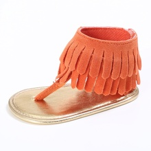 Baby Girl Tassel Shoes PU Hollow Out High Top Shoes Soft Sole Learning Walking Shoes(China)