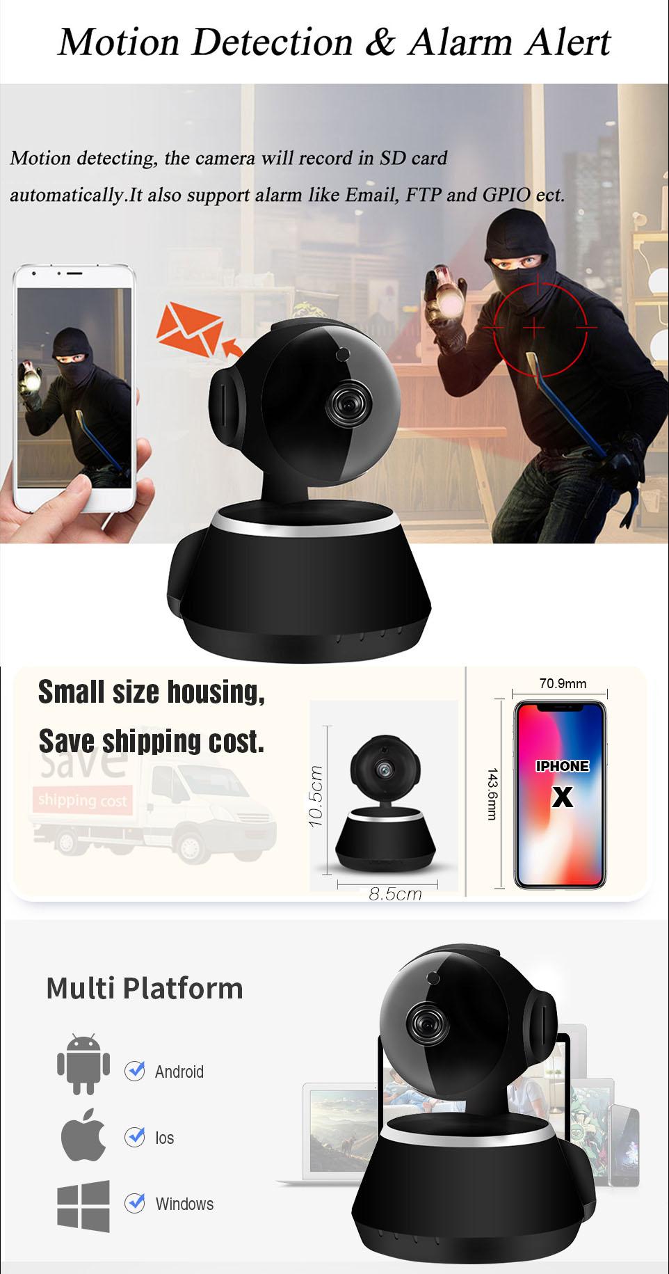 IP Camera Wifi 1080P Security Camera 720P Mini IP Camera Home CCTV Cameras P2P Two Way Audio Motion Detection IR-CUT  (10)