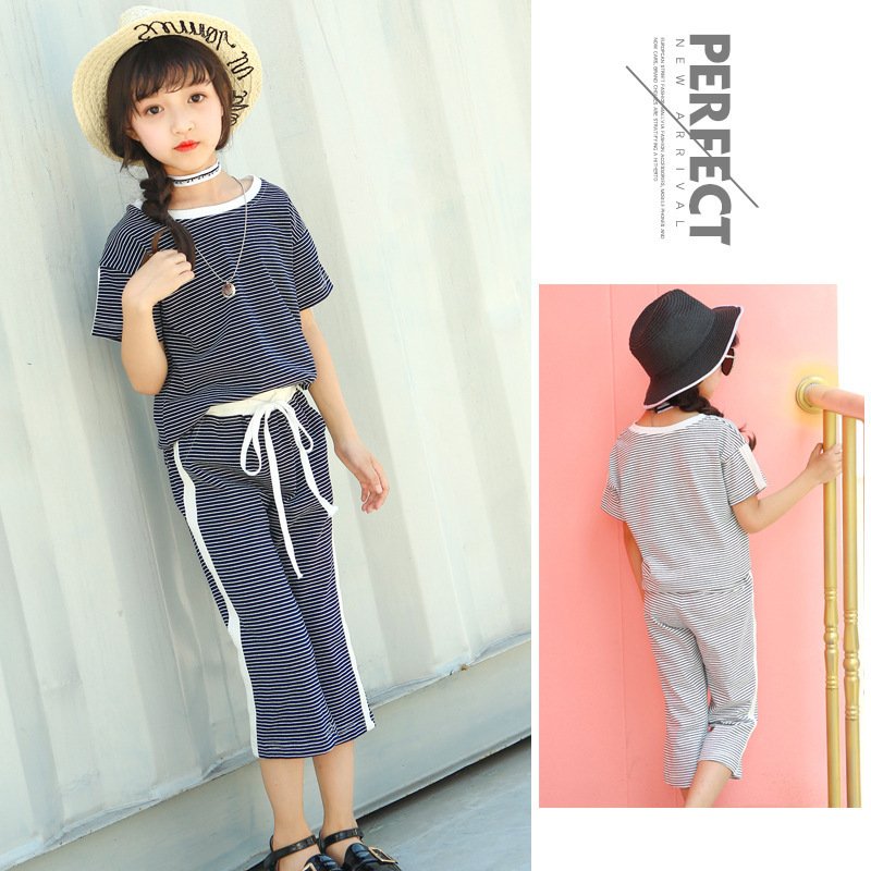 Childrens Garment Girl Stripe Short Sleeve Wide Leg Pants Suit 2017 Girl Pure Cotton Leisure Time Stripe 2 Pieces Kids Clothing<br>