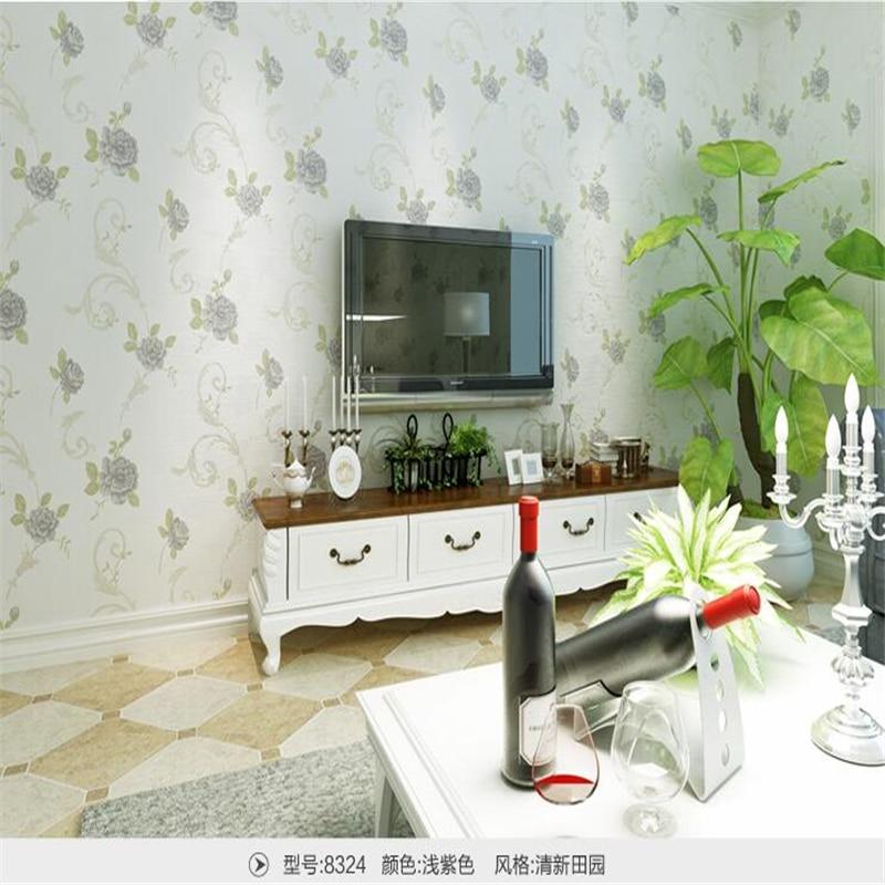 beibehang home dFresh garden floral gilt flocking non - woven wallpaper living room bedroom children s room wedding wallpaper<br>