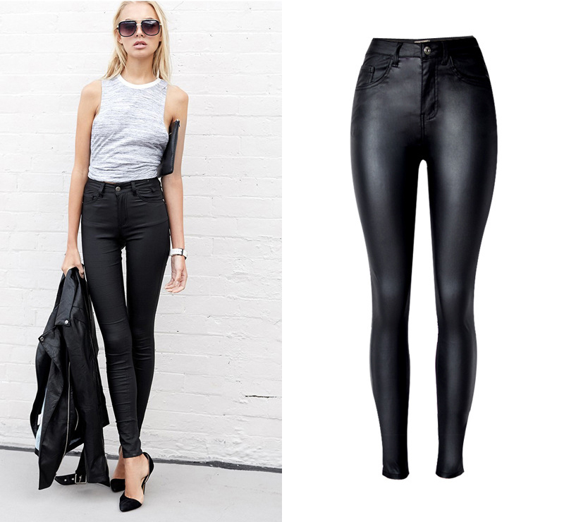 2017 New Hot Eu Models Women Sexy Slim PU Pockets Leather Pencil Pants Motor Style All-Match Fleece Trousers Slim Faux Leather (1)