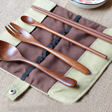 Wooden Travel Portable Cutlery Set Chopsticks Small Spoon Fork Spoon Set of Natural Wood Natural Environmental Protection