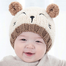 Bear Pattern Baby Hat with Tail Autumn Winter Infant Toddler 3D Beanies Cap Children Knitted Hat Hair Accessories SW152