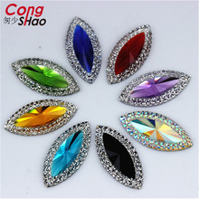 Cong Shao 100Pcs 11*24mm Resin Rhinestone Stones Flatback Horse Eye Cabochon Beads Button Resin Crystal  Accessories ZZ471