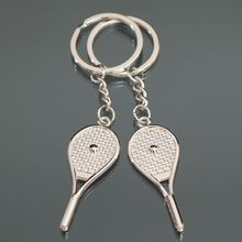 Latest silver Tennis racket Love Keychain Fashion men women lover Keyring Couple Key Chain jewelry Valentine's Day Gift