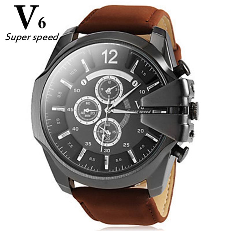 Hot High Quality Classic Styles Men Watch Fashion Collocation Big Dial Quartz Brand Watches Genuine Leather Strap Wristwatch <br><br>Aliexpress