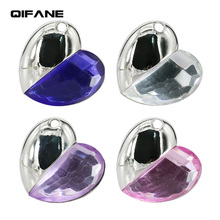 QIFANE 32GB 64G luxury love crystal U Disk pen drive 4G 8G 16G Metal diamond USB Flash Drive  jewelry gift memory stick