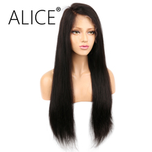 ALICE Brazilian Remy Hair 360 Lace Front Wig Silky Straight 130 Density Natural Color Pre Plucked 360 Lace Wigs For Mother's Day(China)