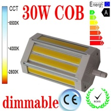 Free shipping 30W dimmable R7S led light 118mm NO Fan COB led R7S lamp J118 R7S AC85-265V(China)