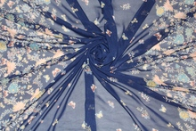 150cm width 75d printed chiffon fabric butterfly and flower CH6357 for summer skirt suit-dress blue