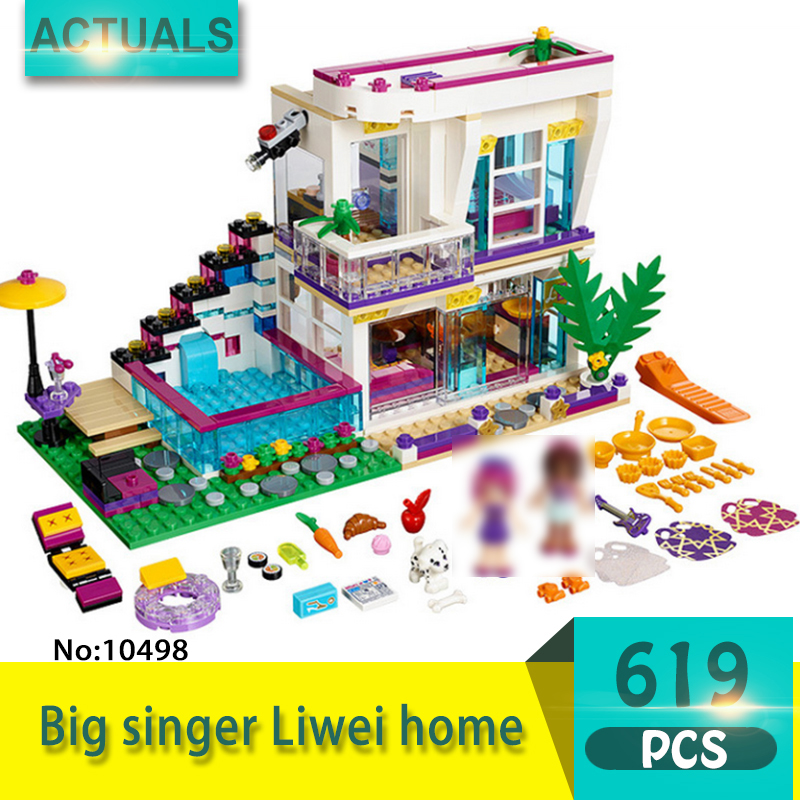 bela 10498 619Pcs Friends series Big singer Liwei home Model Building Blocks Set  Bricks Toys For Children  Gift Girl toy<br>