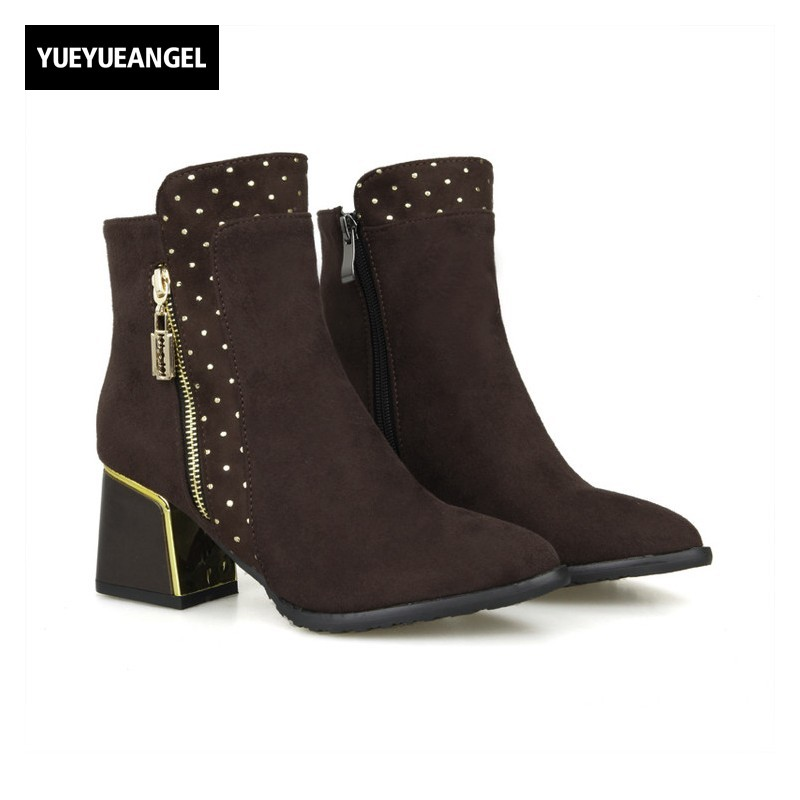 New Female Black Rivet Square Heels Ankle Boots For Women Motorcycle Shoes Suede Zip Botas Mujer Autumn Knight Boots Plus Size<br>