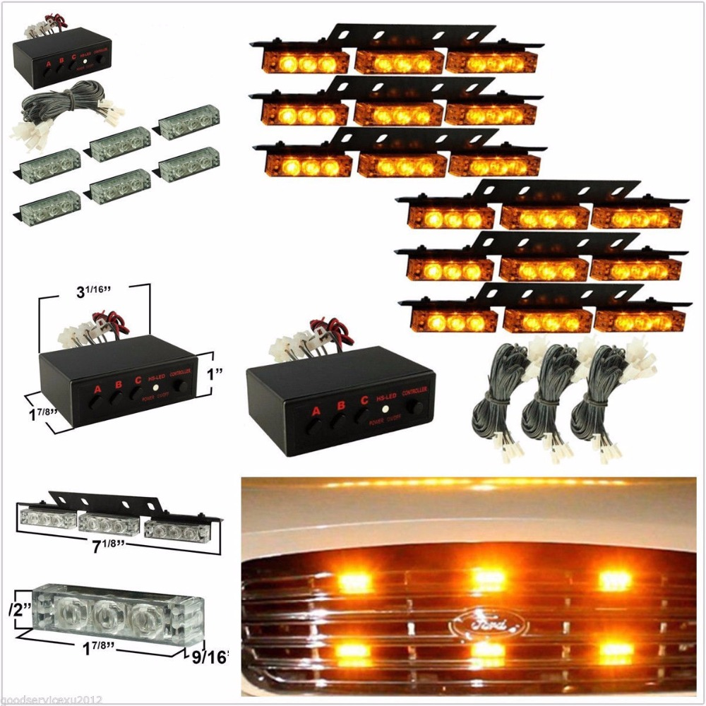 CYAN SOIL BAY 6 X 9LED Amber Waterproof Car Truck EMERGENCY Strobe Light Deck Grille Warning Lamp For Cadillac<br>