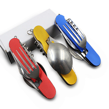 6 in 1 Folding Portable Stainless Steel Camping Picnic Cutlery Knife Fork Spoon Flatware Tableware Travel Kit