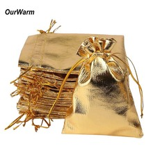 ourwarm 50pcs 7*9cm Gold Silver Christmas Bag Gift Bags Metallic Foil Organza Pouches Wedding Party Favor Gift Bags(China)