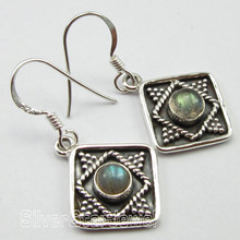 Chanti International Pure Silver Unseen BLUE FIRE LABRADORITE WELL MADE Earrings 3.4 CM TRIBAL(China)