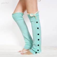 Fashion Women Autumn and Winter Crochet Socks Leg Warmers Boot Cover Knitted Button Lace Trim Leg Socks