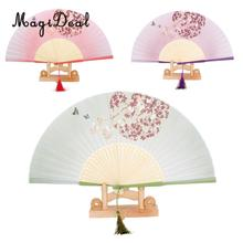 MagiDeal Fashion Japanese Style Silk Butterfly Flower Bamboo Hand Fan Folding Fan Pocket for Garden Party Weddings Cloth Decor