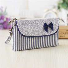 Cotton women's casual  bow coin purse small change wallet bag female phone money pouch carteira feminina bolso mujer for girls