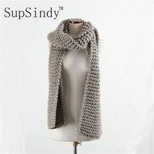 SupSindy Women 's scarf winter wool knitted Candy colors scarves Soft Comfortable thick warm Handmade scarves European style(China)