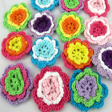 12cs Mixed Multicolor Handmade Cotton Crochet Flowers Applique Sewing Accessories Craft Scrapbooking 4.5cm