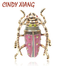 CINDY XIANG Vintage Big Beetle Brooch Pink Color Insect Brooches Red Eyes Exquisite Enamel Pins Fashion Jewelry High Quality(China)