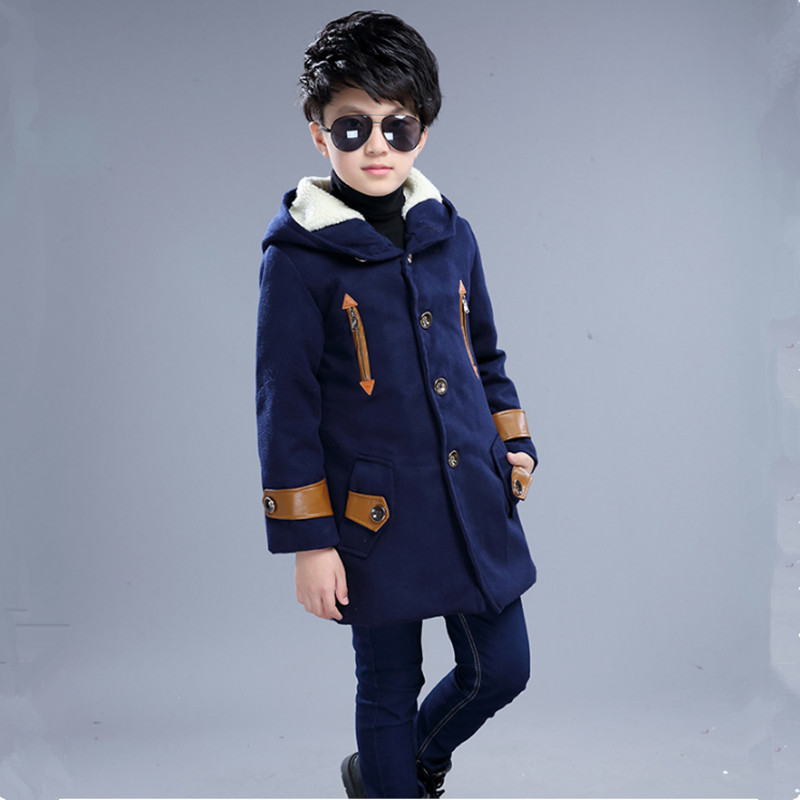 2017 Warm Wool &amp; Blends Outerwear &amp; Coats For Boys Childrens Clothing For Winter Plus Velvet Jackets 120-170<br>