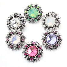 6colors M751 Crystal Flower Metal  18mm snap button for male bracelet  watches women jewelry one direction