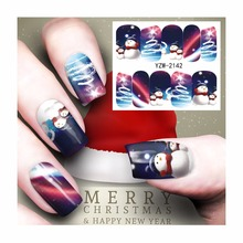 WUF 1 Sheet Christmas Nail Sticker Water Adhesive Foil Nail Art Decorations Tool Water Decals 3d Design Nail Sticker Makeup 2142