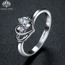 Jessie Pepe Italian Engagement Ring Double Heart Ring with Austrian Crystal Stellux Welcome Wholesale Free Shipping#RG92918