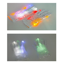 TAOS 1 Pair White Cotton Hand Gloves with Colorful Flashing Finger Lighting LED Rave Halloween Party Accessories LED Gloves