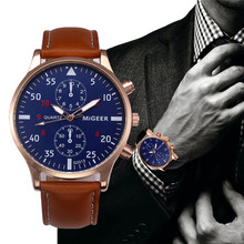 Watch Men Business Leather Band Analog Alloy Quartz Wrist Watch relogio masculino Dropshipping Perfect Gift N 30