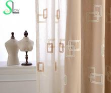 Box New Cotton Stereo Curtain Collocation Embroidered Korean Geometric Curtains Cortinas Living Room Sheer Tulle Kitchen Modern(China)