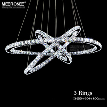 Hot Selling 3 Diamond Ring Pendant Crystal Lamp Fixture LED Pendant Light suspension Modern LED Lustres Lighting Circles Lamp
