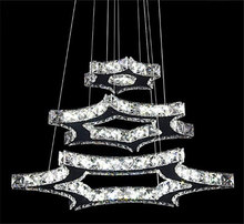 5W+18W+30W 3 Hexagonal star crystal hanging chandeliers Modern SMD 2835 LED K9 crystal lights lustre stainless steel home lamp
