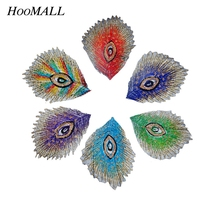 Hoomall Brand Multicolor Peacock Feather Embroidered Appliques Patchwork Iron On Patches For Clothing Sewing Accessories