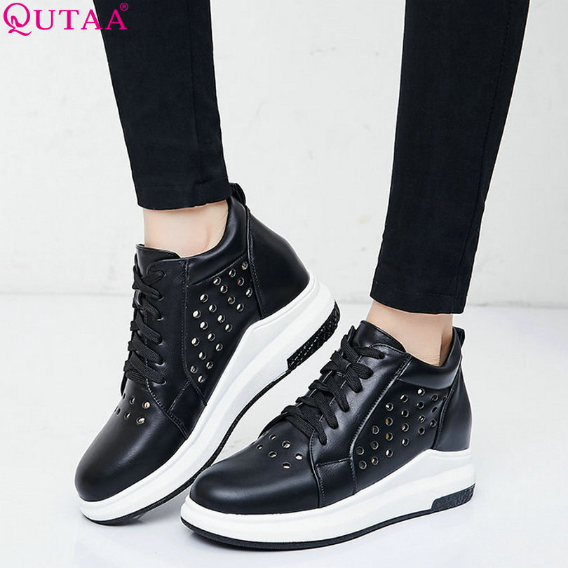 QUTAA 2017 Women Pumps Ladies Shoe Wedge Med Heel Lace Up Casual PU leather White Cut Outs Woman Wedding Shoes Size 34-40<br><br>Aliexpress