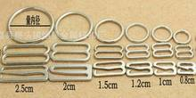 180pcs size 15mm Silver nickle plated metal bra strap adjuster slider Hook Ring for  bra underwear lingerie
