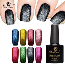 Saviland 10ML Platinum Glitter Colors UV Gel Shining Nail Gel Polish Long-lasting Fingernail Soak-off LED UV Gel Varnish